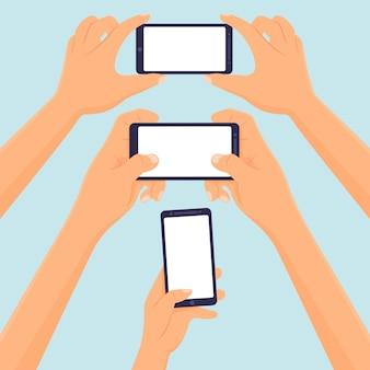 Mãos segure smartphone modelo em branco ilustração vetorial
