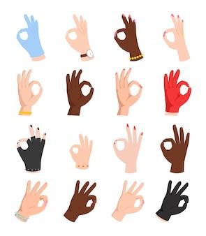 Mãos símbolo ok Vetor Premium