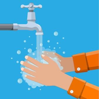 Mãos sob a água caindo da torneira Vetor Premium