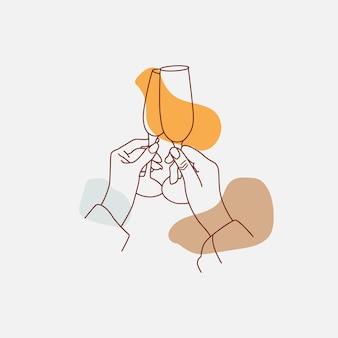 Mãos torcendo com taças de vinho