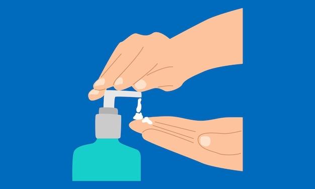 Mãos usando dispensador de bomba de gel desinfetante para as mãos