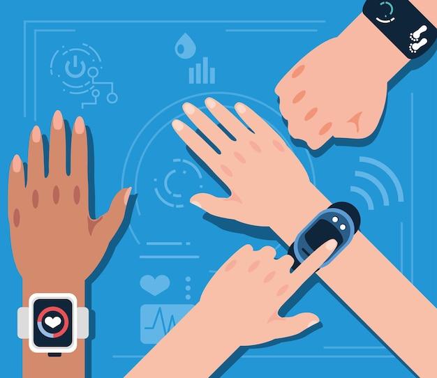Mãos usando dispositivos de saúde vestíveis