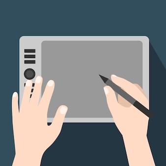 Mãos usando tablet gráfico-ilustração vetorial plana