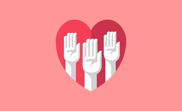 Mãos voluntárias em uma ilustração do coração