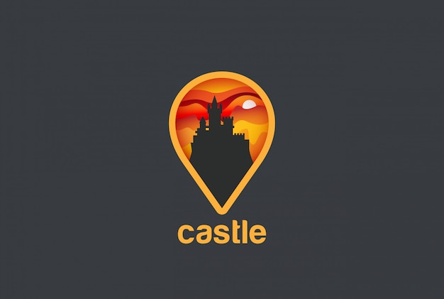 Map geo locator castle logo vector ícone