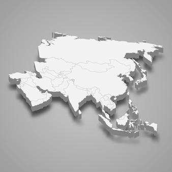 Mapa 3d da ásia