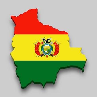 Mapa 3d da bolívia com a bandeira nacional.