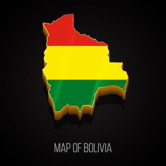 Mapa 3d da bolívia Vetor Premium