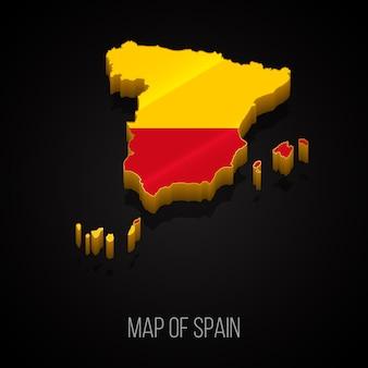 Mapa 3d da espanha Vetor Premium