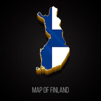 Mapa 3d da finlândia Vetor Premium