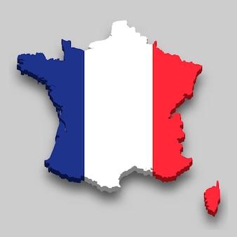 Mapa 3d da frança com a bandeira nacional.