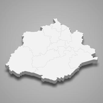 Mapa 3d da ilustração do estado de aguascalientes no méxico