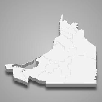 Mapa 3d da ilustração do estado de campeche do méxico
