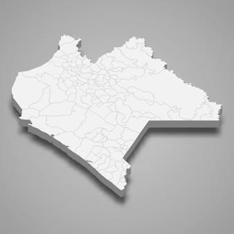 Mapa 3d da ilustração do estado de chiapas no méxico