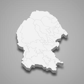 Mapa 3d da ilustração do estado de coahuila no méxico