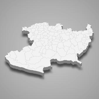 Mapa 3d da ilustração do estado de michoacan no méxico