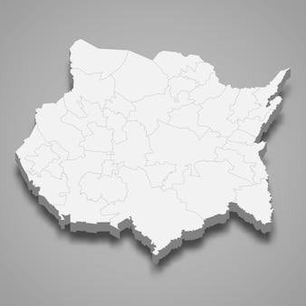 Mapa 3d da ilustração do estado de morelos no méxico