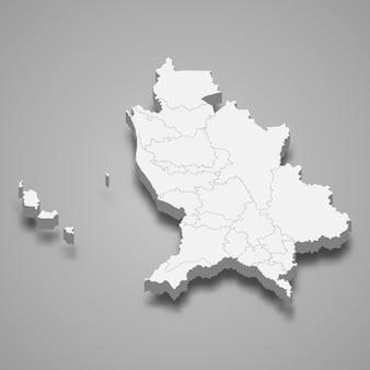 Mapa 3d da ilustração do estado de nayarit no méxico
