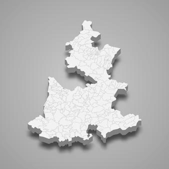 Mapa 3d da ilustração do estado de puebla, no méxico