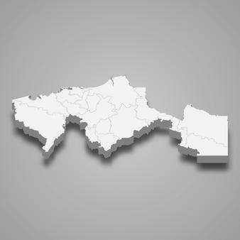 Mapa 3d da ilustração do estado de tabasco do méxico