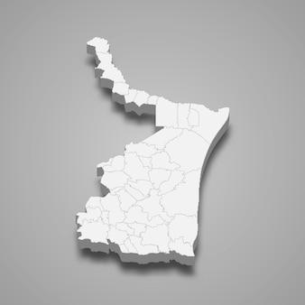 Mapa 3d da ilustração do estado de tamaulipas, no méxico