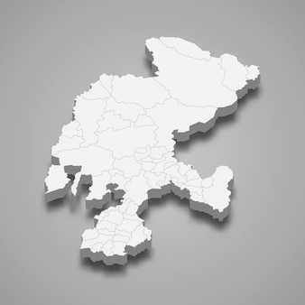 Mapa 3d da ilustração do estado de zacatecas no méxico