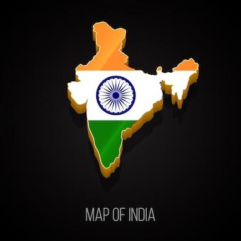 Mapa 3d da índia