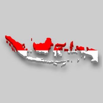Mapa 3d da indonésia com a bandeira nacional.