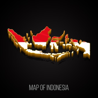 Mapa 3d da indonésia