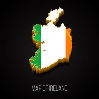 Mapa 3d da irlanda Vetor Premium