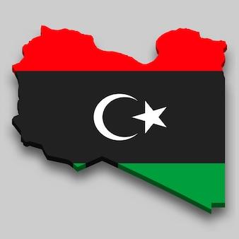 Mapa 3d da líbia com a bandeira nacional.