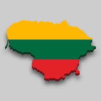 Mapa 3d da lituânia com a bandeira nacional.