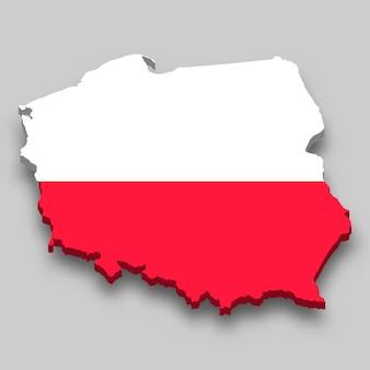 Mapa 3d da polónia com a bandeira nacional.