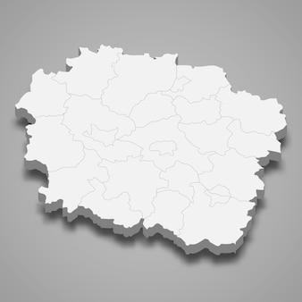 Mapa 3d da província da voivodia da kuyavia-pomerânia, na polônia