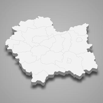 Mapa 3d da província da voivodia da pequena polônia na polônia