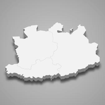 Mapa 3d da província de antuérpia na bélgica