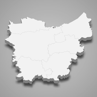 Mapa 3d da província de flandres oriental da bélgica