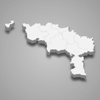 Mapa 3d da província de hainaut na bélgica
