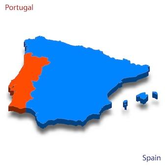 Mapa 3d das relações entre portugal e espanha