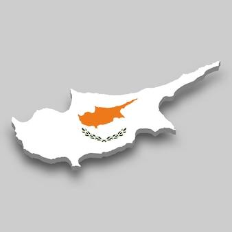 Mapa 3d de chipre com a bandeira nacional.