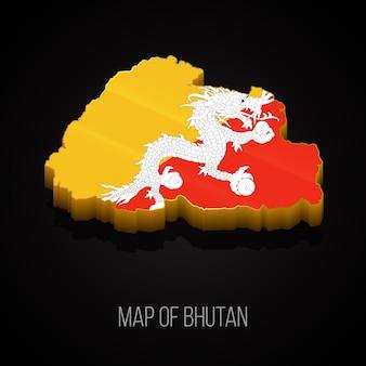 Mapa 3d do butão