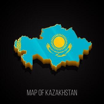 Mapa 3d do cazaquistão