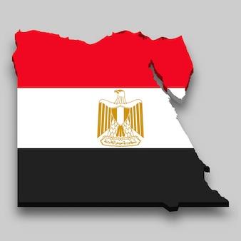 Mapa 3d do egito com a bandeira nacional.