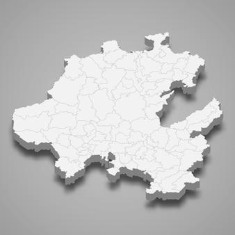 Mapa 3d do estado de hidalgo, no méxico