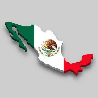 Mapa 3d do méxico com a bandeira nacional.
