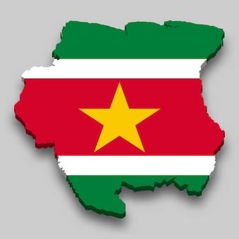 Mapa 3d do suriname com a bandeira nacional.