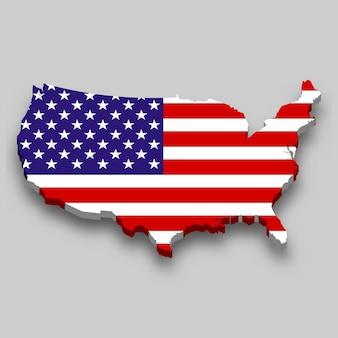 Mapa 3d dos estados unidos com a bandeira nacional.