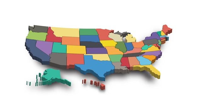 Mapa 3d dos estados unidos da américa