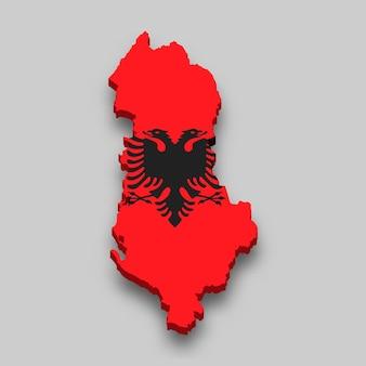 Mapa 3d isométrico da albânia com a bandeira nacional.