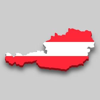 Mapa 3d isométrico da áustria com a bandeira nacional.